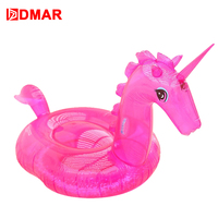DMAR 240cm Giant Inflatable Transparent Unicorn Pool Float Swimming Ring Circle Beach Mattress Adult Summer Water Party Toys