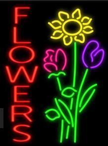 Custom FLOWERS Glass Neon Light Sign Beer Bar