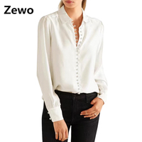 Zewo Fashion Spring Shirts Women White Turn Down Long Sleeve Button Blouses Plus Size Solid Casual