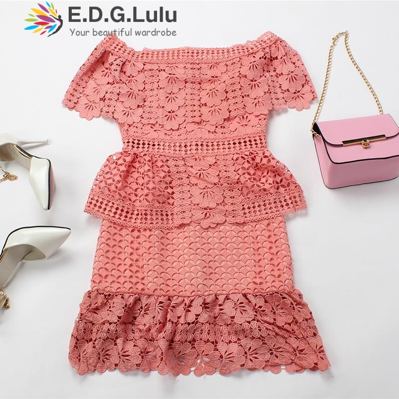 pink summer short mini <font><b>dress</b></font> 2018 lace shoulder strapless ruffled bodycorn women white sexy womens clothing streetwear image