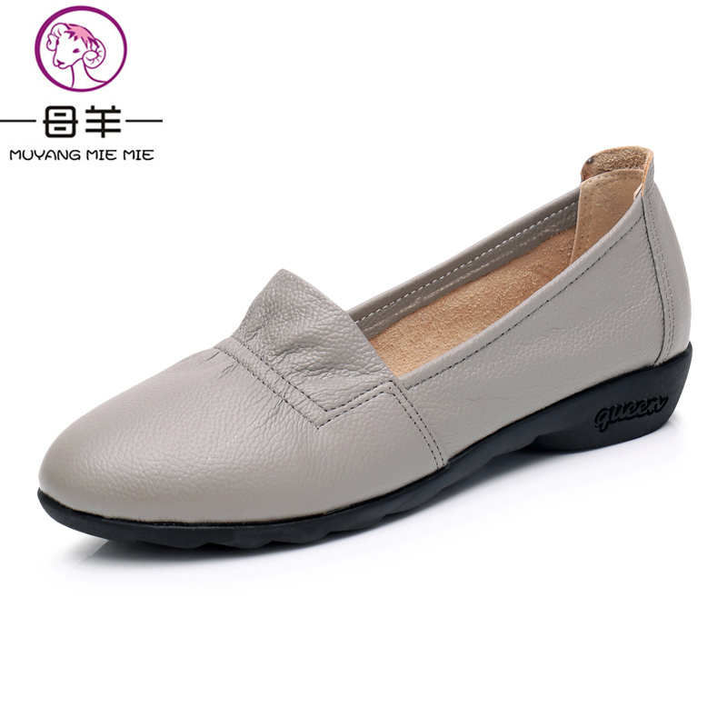 MUYANG MIE MIE Women Flats Women Genuine Leather Flat Shoes Woman Loafers Nurse Casual Women Shoes Fashion Ladies Boat Shoes muyang mie mie 2017 new fashion women flats rhinestone genuine leather flat shoes woman casual shoes soft round toe women shoes