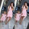 2016 Новая Мода Летние Платья Женщины Повседневная Элегантный Sexy-Line Dress с Оборками С Коротким Рукавом Свободные Платья женщин Vestidos