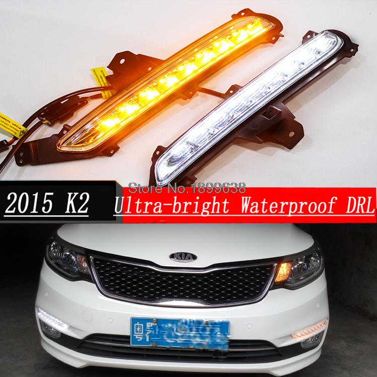 ФОТО Hight Quality Waterproof 9 LED lamp Car DRL Daytime running lights with turn signals for KIA RIO K2 2015 with fog lamp hole