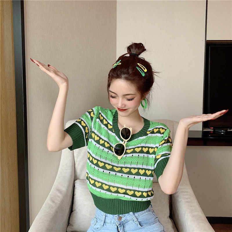 새로운 여성 스트라이프 짧은 소매 녹색 스웨터 셔츠 o-넥 자른 얇은 속이 빈 스웨터 풀오버 자르기 가기 여성을위한