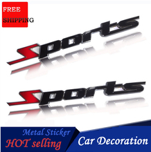 2018 3D Car Styling Sports Word Car Stickers Metal Sticker Emblem For Auto Car Decoration Truck Exterior Accessories