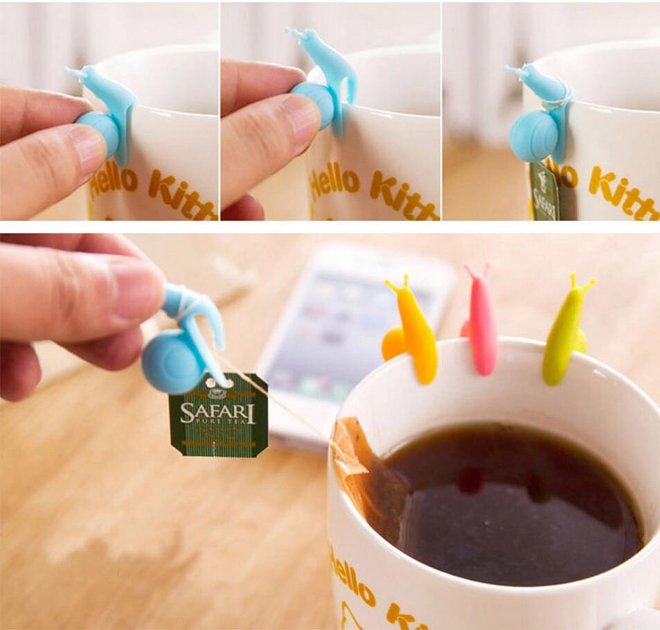 5Pcs Snail Shape Silicone Tea Bag Holder Cup Mug Tea Infuser