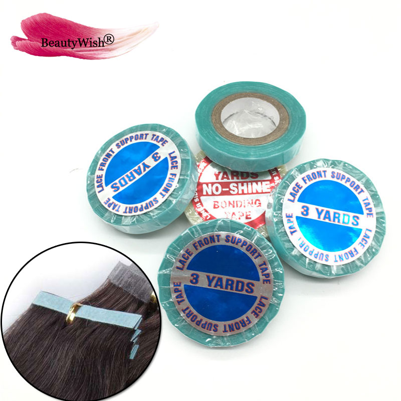 Water Proof tape 10 Rolls 3 Yards Double Sided Adhesive Tape Skin Weft Tape Hair Extensions 1cm width Blue Tape For Hair