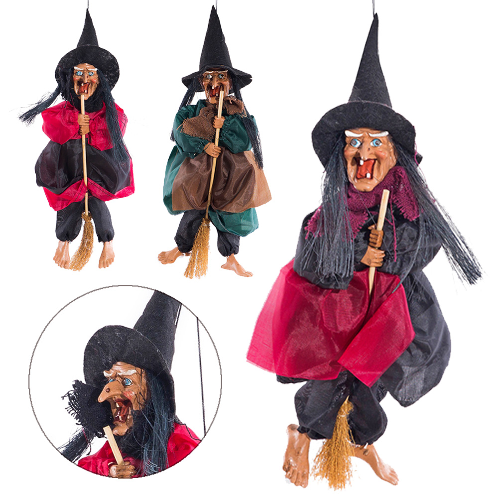2019 New Riding A Broom Witch Pendant Voice Control Halloween Props Ride Broom Witch Hanging Decoration With Sound And Red Light