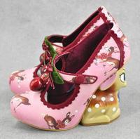 Luxury Irregular Little Deer Heel Shoes Double Cherries High Heel Pump Women Round Toe Strange Heels Deer Printing Leather Shoes