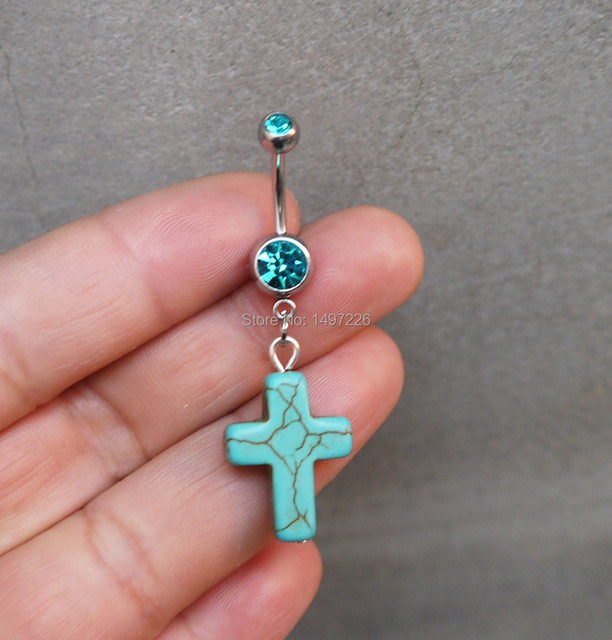 2Pcs Turquoise Cross Belly Button Ring, Navel Piercing -4318