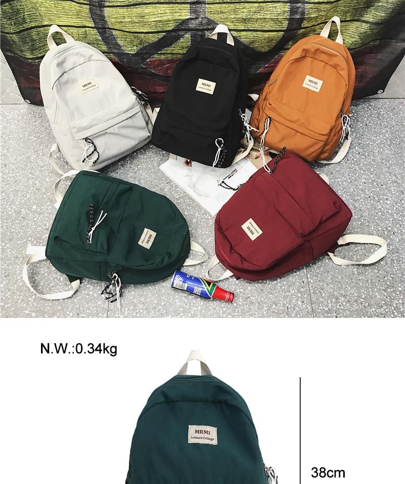 HTB1C7rNN9zqK1RjSZFpq6ykSXXae DCIMOR Solid color Women backpack Retro Fashion Waterproof Nylon Backpack School Bags For Teenagers Mochilas Travel Backpacks