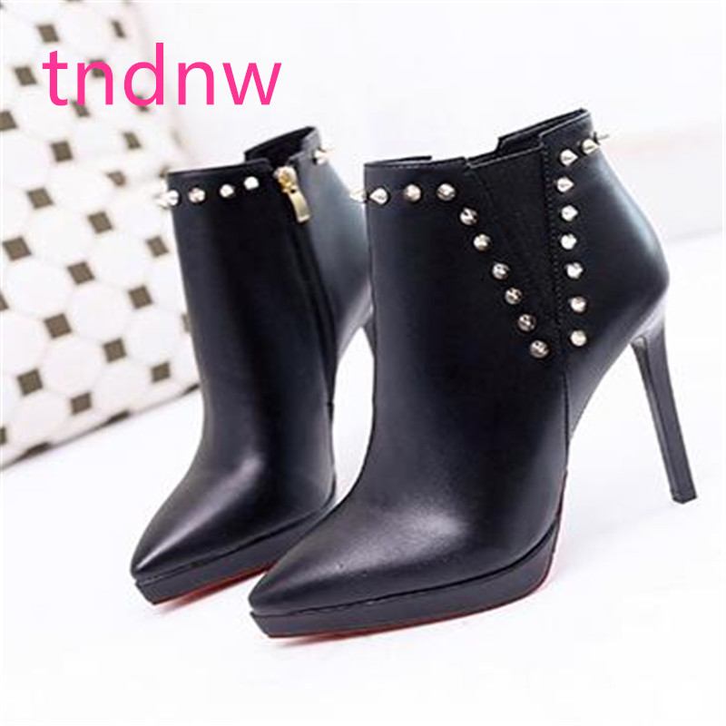 Women Ankle Boots autumn winter Pointed Toe High Heels Patent Leather Women Pumps work party Fashion Stiletto Short Botas Mujer
