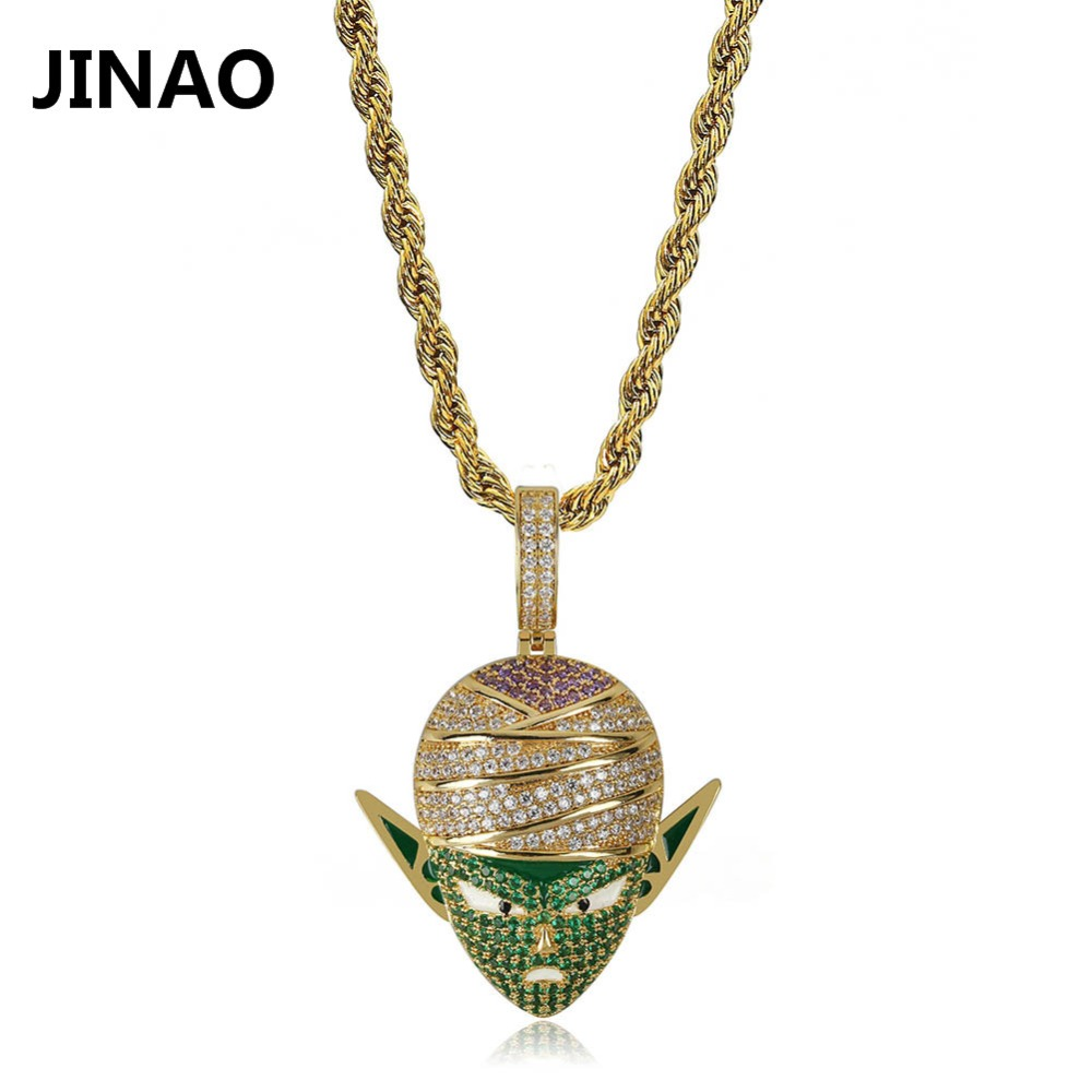 JINAO Hip Hop Jewelry Dragon Ball Iced Out Chain Anime Piccolo Pendant Cubic Zircon Personalized Necklace for Christmas Gifts Углеродное волокно