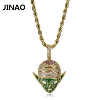 JINAO Hip Hop Jewelry Dragon Ball Iced Out Chain Anime Piccolo Pendant Cubic Zircon Necklace for Christmas Gifts - DISCOUNT ITEM  20 OFF Jewelry & Accessories
