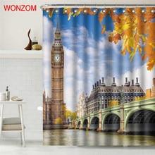 WONZOM Big Ben Waterproof Shower Curtain Castle Bathroom Decor Seaside House Decoration Cortina De Bano 2017 Bath Curtain Gift