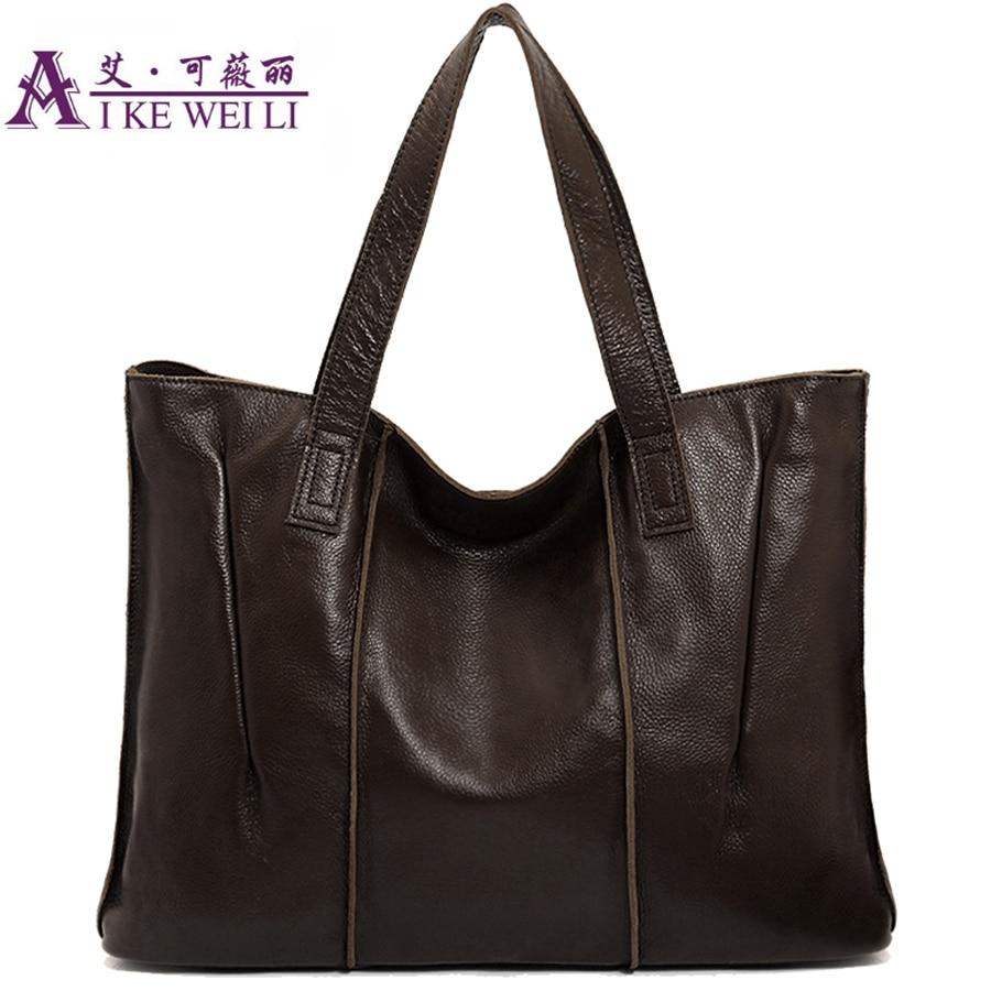 Genuine Leather Bag Handbag Black Cowhide Women Genuine Leather Handbags Vintage Large -8775