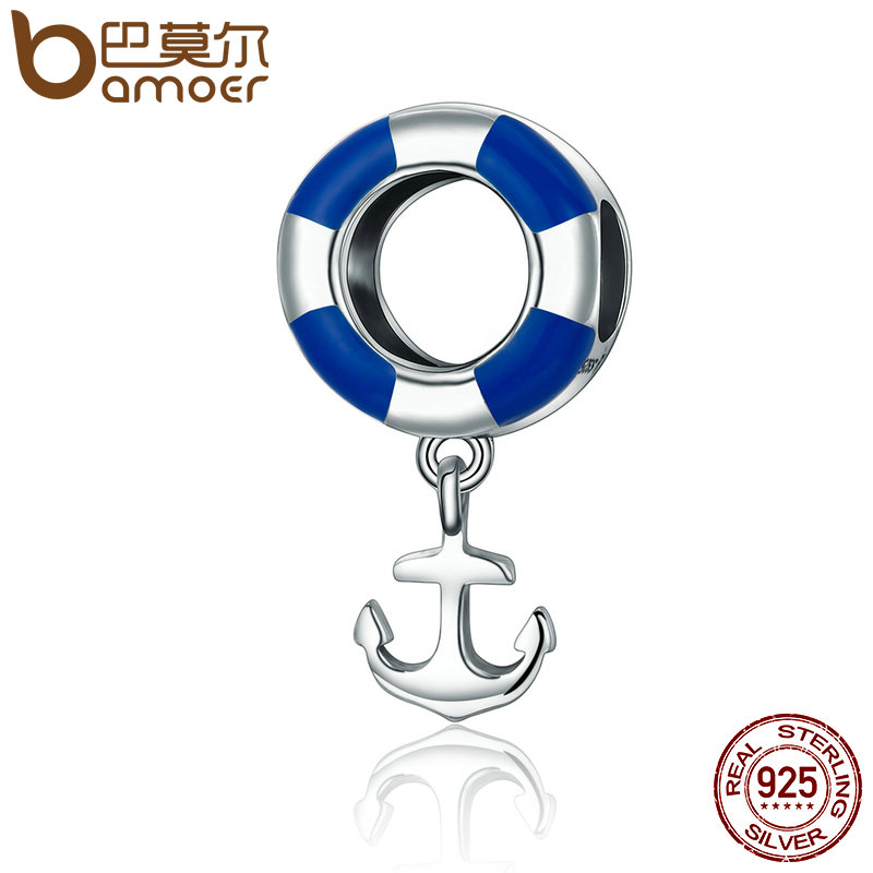 BAMOER Real 925 Sterling Silver Ocean Journey Lifebuoy Navy Anchor Beads fit Charm Bracelets Necklace Jewelry SCC176 adriatica a3173 52b3q