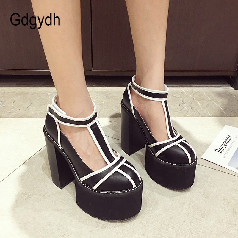 Gdgydh Women Chunky Heel Platform Pumps High Heel Black Rubber Sole Shoes Autumn 2018 Round Toe Hook & Loop Female Dress Shoes fashion ultra high heel dress shoes women stiletto heel platform round toe pure black can match any situation