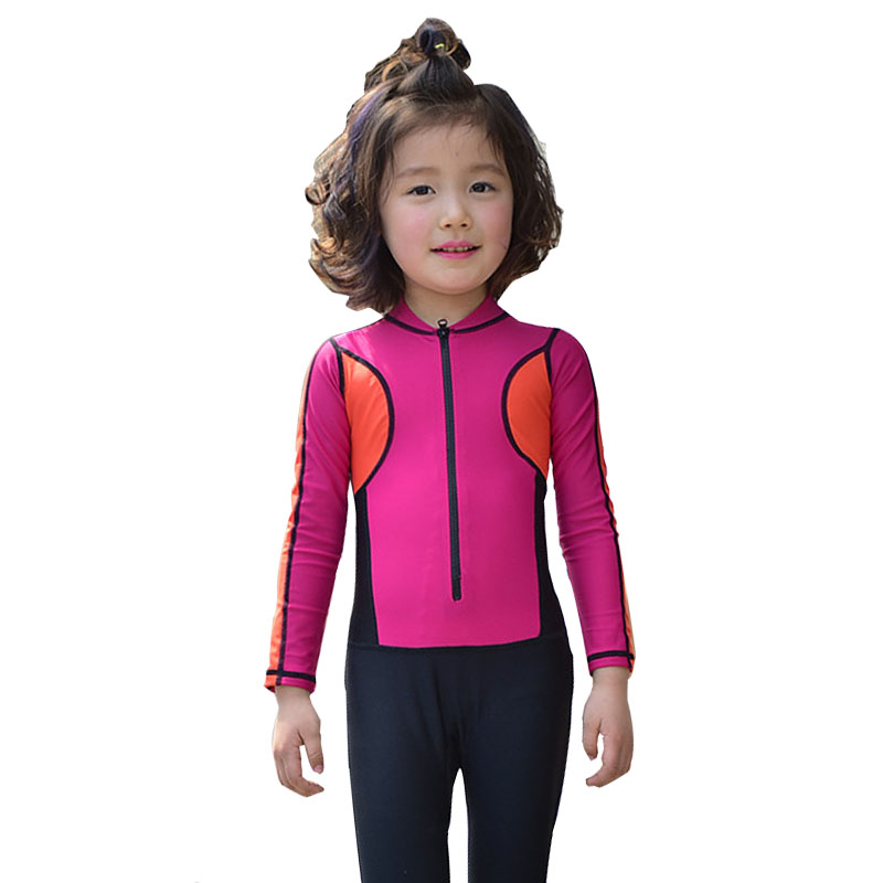 2017 Girls One Piece Swimwear Patchwork Long Sleeve Swimsuit for Kids Nice Quality Swimming Diving Suit