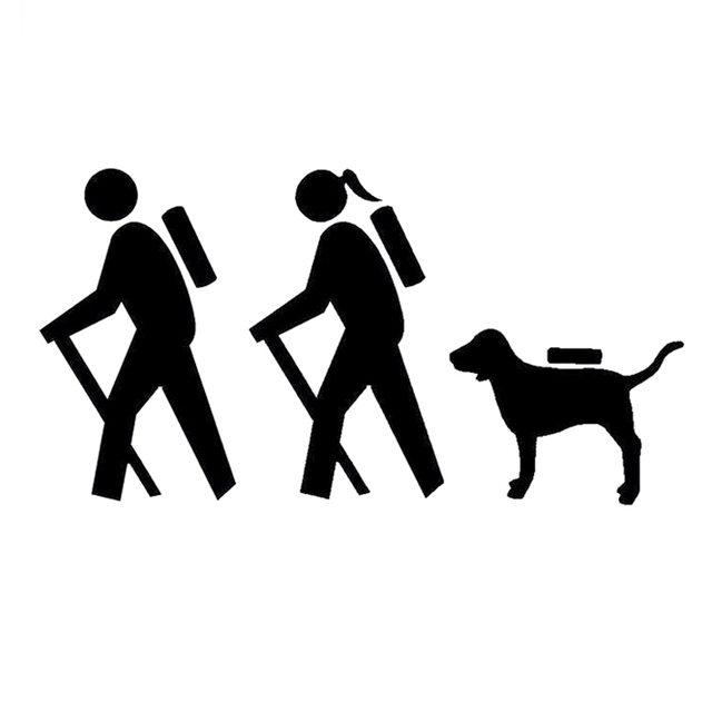 159CM83CM Fashion Couple Hiking Dog Backpack Camping Family Car Sticker Vinyl Decal