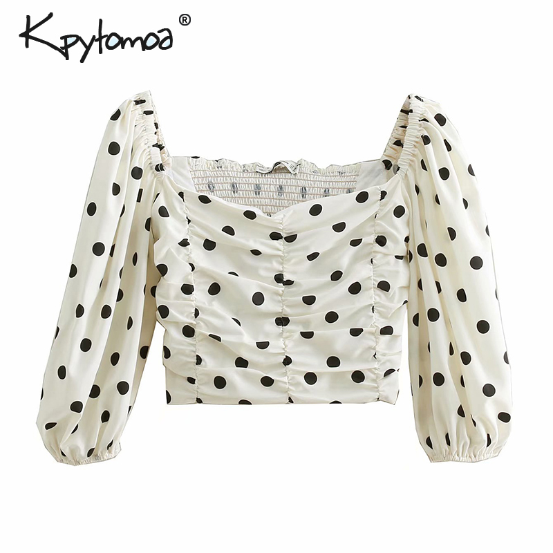 Vintage Sweet Polka Dot  Short Style Blouses Women 2019 Fashion Slash Neck Back Elastic Lantern Sleeve Side Zipper Shirts Blusas