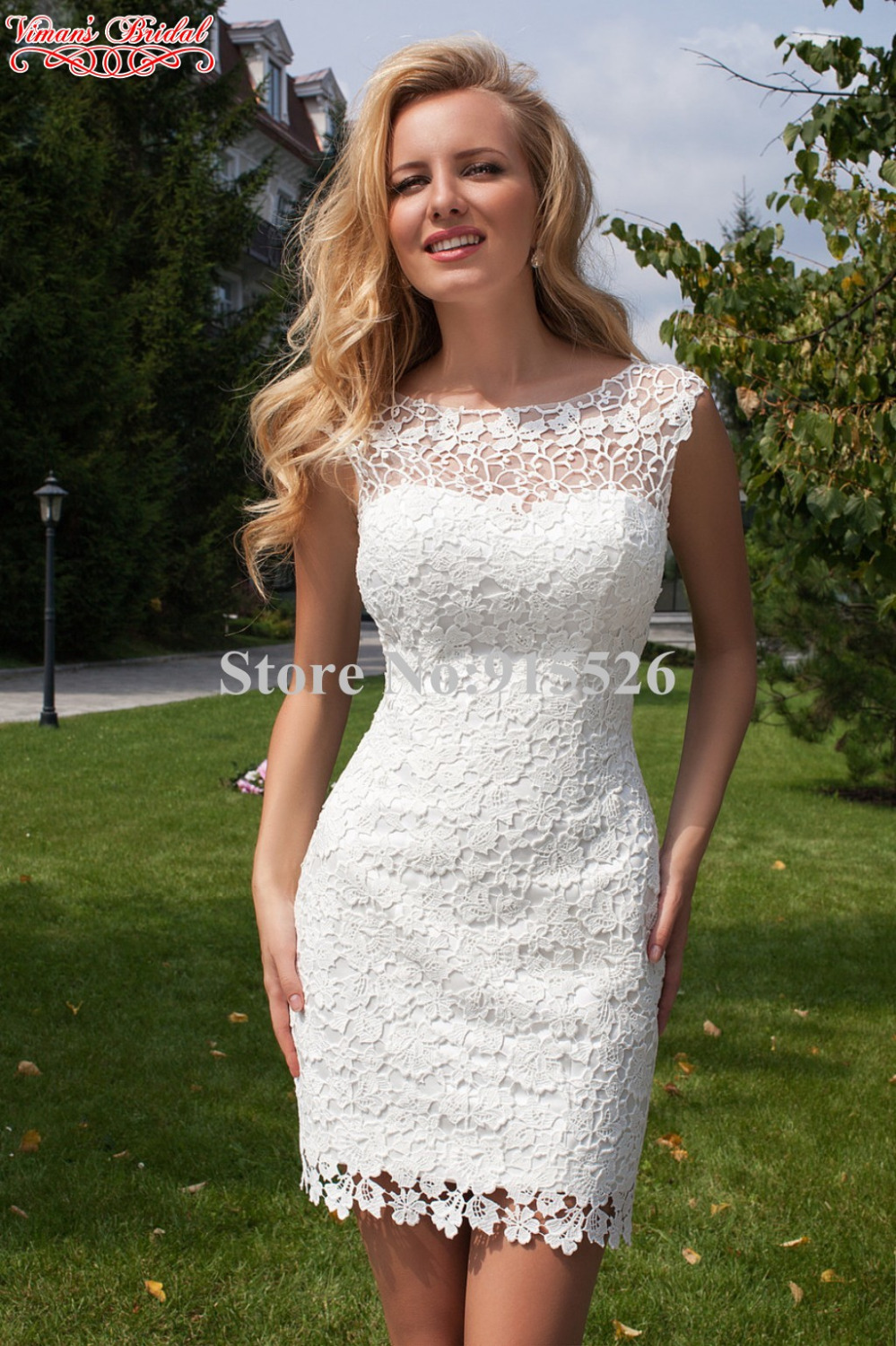 2015 Vimans Bridal Lace Vestido Noiva Curto Appliques Scoop Keyhole Back Mini Wedding Dress With Train Free Shipping AX19 In Dresses From Weddings