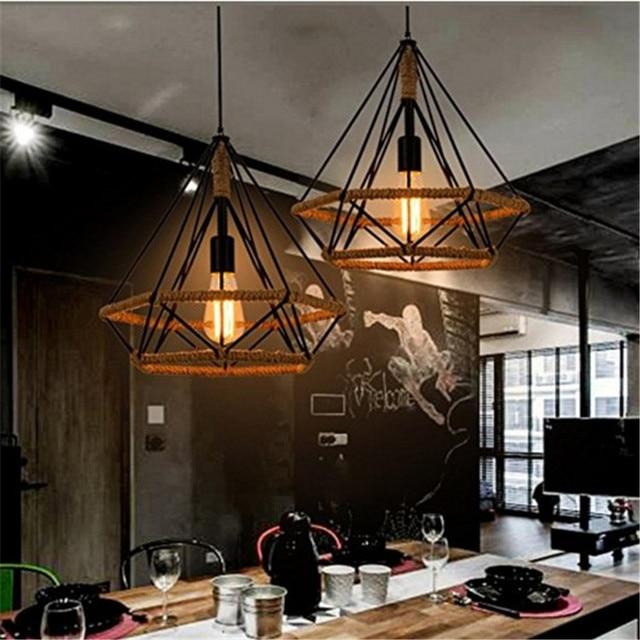 Modern Iron Vintage Art Diamond Shape Pendant Light Bird Cage Rustic Retro Loft Pyramid Lamp Style