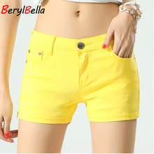 BerylBella Women Shorts Mujer New Summer 2017 Casual Elastic Waist Elegant Female Beach Cotton For Plus Size