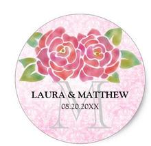 1.5inch Watercolor Roses Wedding Favor Monogram Stickers
