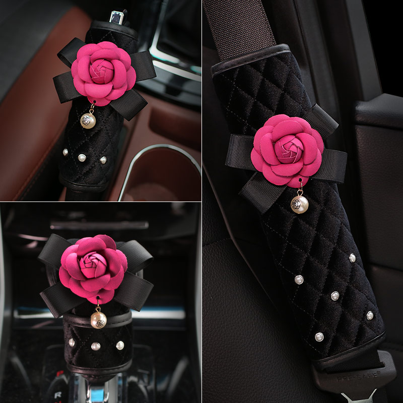 Hot Sales Pearl Camellia Flower Auto Car Safety Seat Belt Cover for Women Plush Shoulder Pad Hand Brake Case Gear Shift Cover