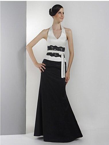 bf3ac2dd5c63 34 Bridesmaid Dress Floor-length Satin Trumpet Mermaid Halter V-neck Dress