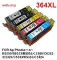 5 tinta 364 XL cartucho de tinta Compatible para hp Photosmart B8550 / B8553 / B8558 / C6380 / C6383 / C5324 / C5383 / C5380 / C6324 impresora con el chip
