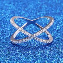 Infinite-Ring Cross-Ring Zirconia Women with Micro Pave Hollow-Out O3F300 Filled X-Shape