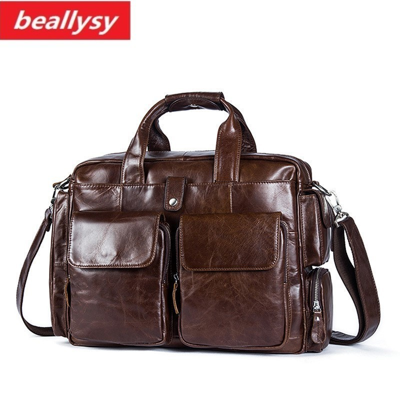 New Business Men Briefcase Handbags Laptop Bag Men Messenger Bags Genuine Cowhide Leather Men Bag Male Shoulder Bags Casual Tote цена 2017