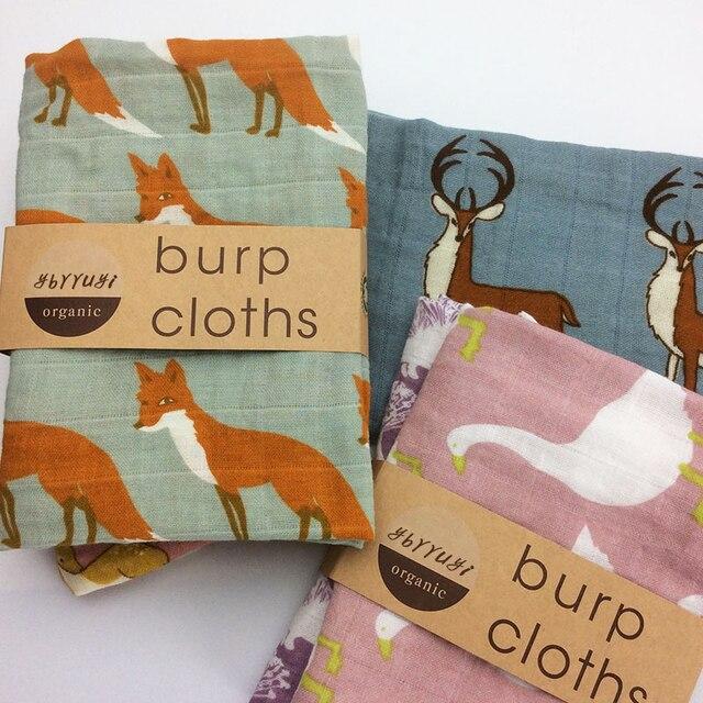 Baby Burp Doeken 2 stks/partij Biologisch katoen gaas Mousseline activiteit baby bib bandana Baby Slabbetjes zachte ademend Pasgeborenen Handdoek sjaal