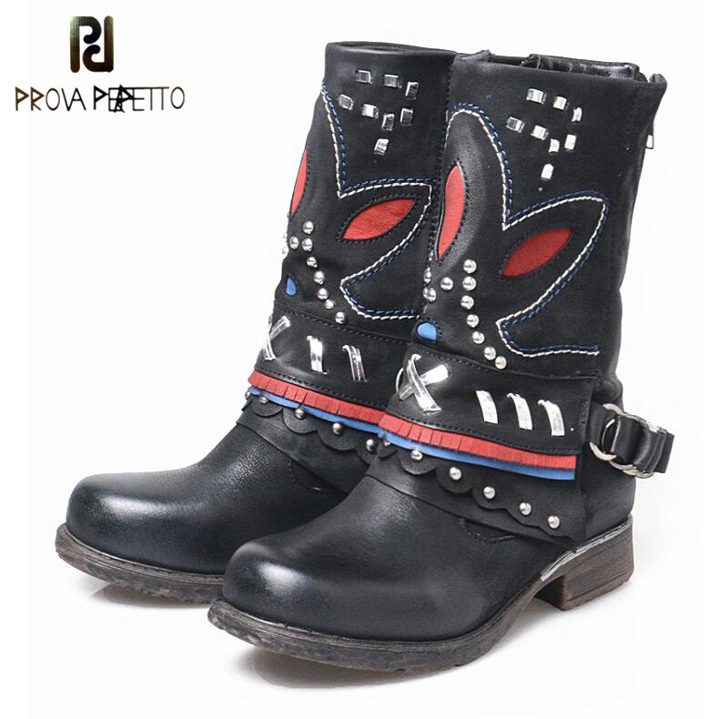Prova Perfetto Genuine Leather Personality Mixed Color Winter Short Boots Women Do Old Rivet Thick Heel Comfortable Martin Boots prova perfetto autumn winter new genuine leather low heel women mid calf boots round toe thick bottom comfortable martin boots