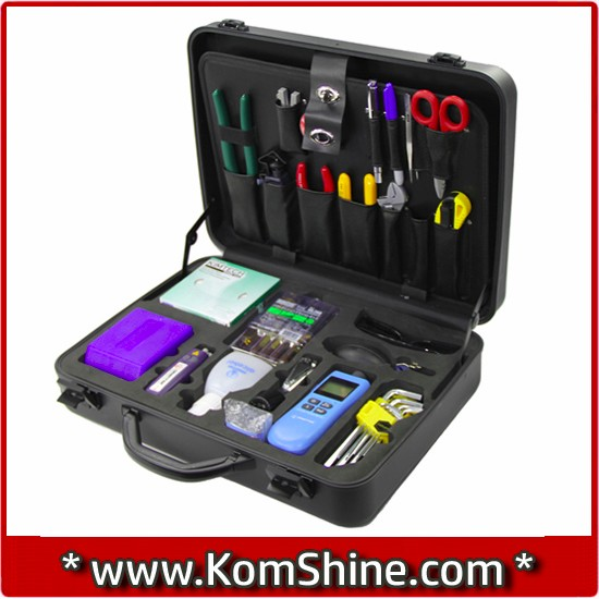 KOMSHINE 23 pcs Fiber Optic FTTH Tool Kit with Fiber Cable Cleaver,Optical Fiber Stripper Tool Storage Box Alcohol Bottles