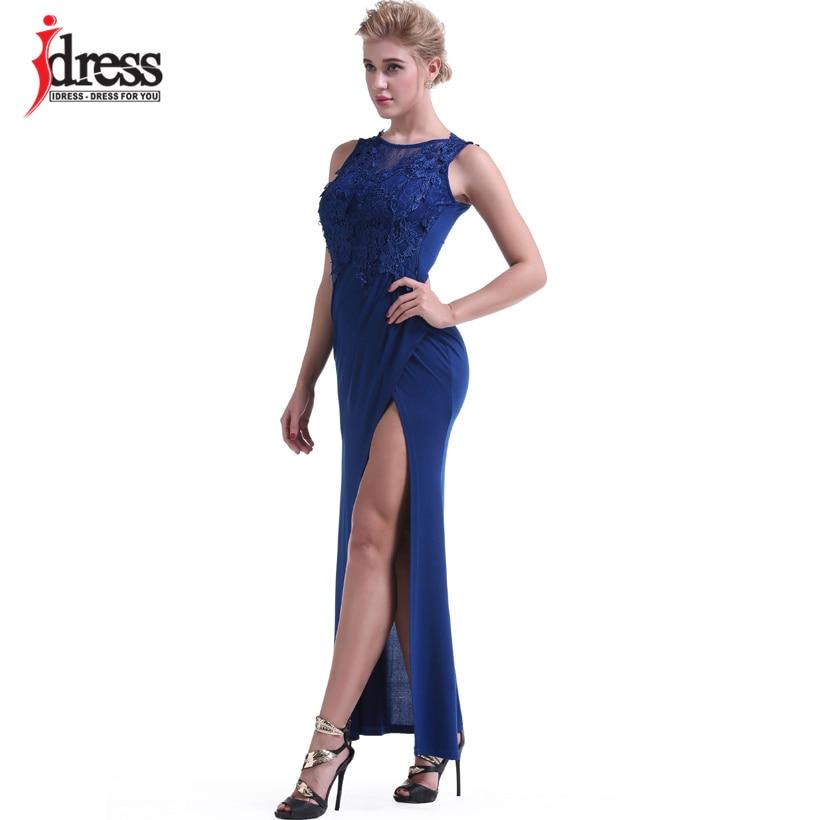 IDress Women Clothing Fashion 2017 Vestido Sexy Bodycon Summer Evening Long Dress O Neck Floor Length High Slit Black Maxi Dress (7)