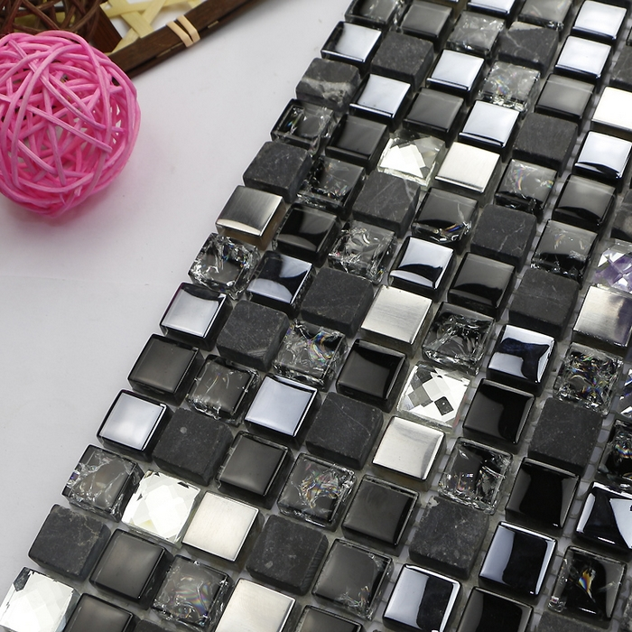 Aliexpress Com Buy Black Color Stone Mixed Glass Mosaic Tile Home Improvement Kitchen Backsplash Bathroom Tiles Fireplace From Reliable Tiles Kitchen