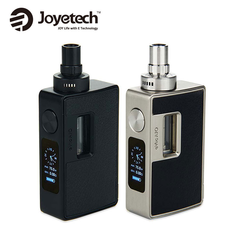 Clearance Joyetech EVic AIO Kit with 3ml Tank Capacity & Huge OLED Screen Top Filling Max 75w Output No Battery Vs Ego Aio Box original kangertech cupti kit 75w tc aio kit with top filling top airflow 5ml atomizer ss316l 1 5ohm clocc coil no 18650 battery