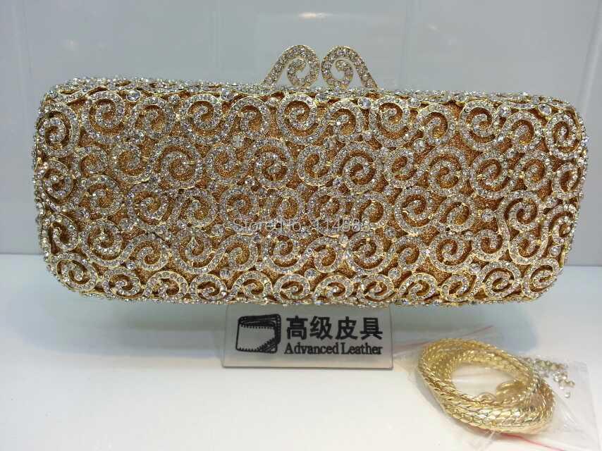 ФОТО 8204L-GD Crystal Flower Floral Bridal Party hollow golden Metal Evening purse clutch bag handbag