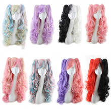 цена на Roromiya Karuta Black Red Pink Purple Ombre Long Curly Wig Cosplay Harajuku Lolita Colored Woman Wigs With Clip On Ponytail