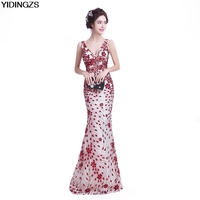 YIDINGZS Slim Mermaid Sequined Long Evening Dresses Fashion Prom Party Dresses Robe De Soiree