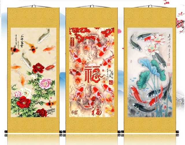 12style 120*55cm Chinese frlower dragon fish gold color Silk ...