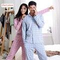 Amantes de la Tela Escocesa ocasional 100% del Algodón de los Pijamas del Otoño Mujer Hombre Lounge Pijama Pijama de Manga Larga Camisetas Pantalones Set Pareja de Dormir