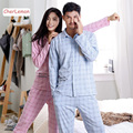 Casual Plaid Lovers 100% Cotton Pajamas Set Autumn Women Man Lounge Pijama Long Sleeve Pyjama Tops Pants Set Couple Sleepwear