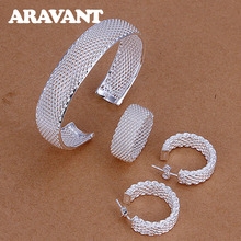 925 Silver Jewelry Sets Fashion Circle Braided Mesh Rings Earrings Bangle For Women Bridal Wedding