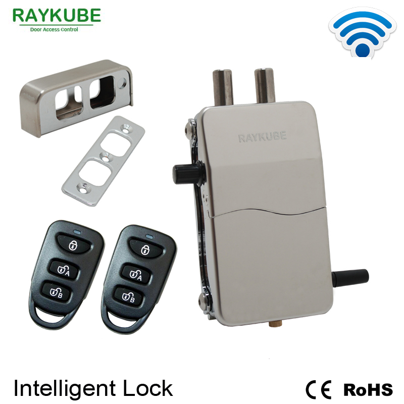 цена RAYKUBE Wireless Intelligent Remote Control Lock Anti-theft Lock For Invisible Lock Electric Door Lock Smart Warded Lock R-W39 в интернет-магазинах