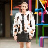 Bella Philosophy 2018 Autumn fox Faux Fur Women Casual Coat Long Sleeves Female outwears o neck warm jacket for Women