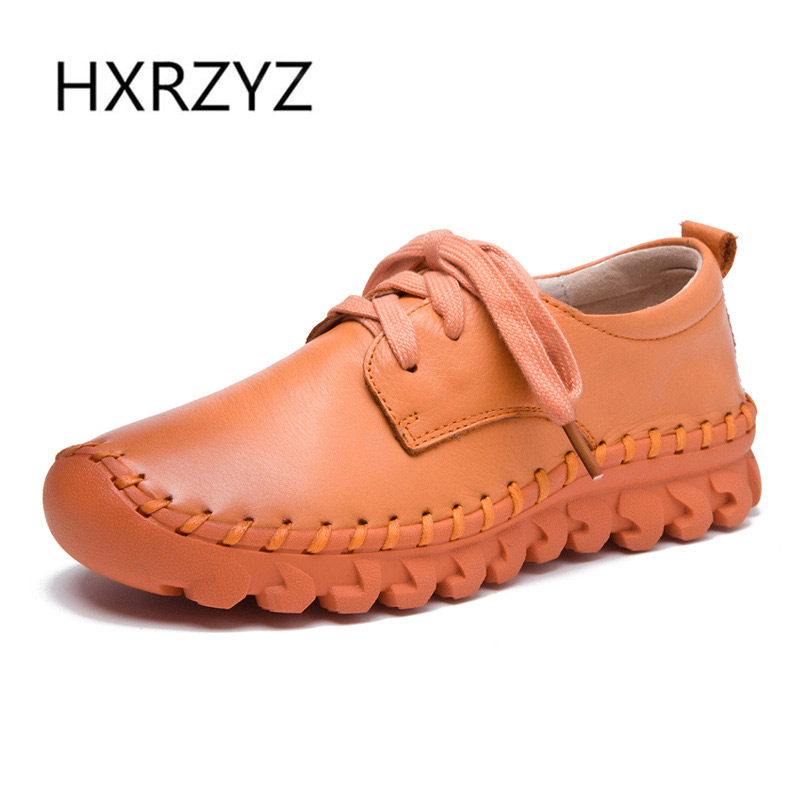 HXRZYZ women flat shoes handmade genuine leather casual shoes spring/autumn fashion lace-up thick sole non-slip women sneakers hxrzyz spring autumn new shoes woman ladies leather thick heel fashion style shoes lace up rubber bottom women shoes black pumps